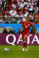 16th June 2018, Mordovia Arena, Mordovia, Russia; FIFA World Cup WM Weltmeisterschaft Fussball Football, Group C, Peru versus Denmark; Yussuf Yurary Poulsen of Denmark PUBLICATIONxINxGERxSUIxAUTxHUNxSWExNORxDENxFINxONLY ActionPlus12037571 UlrikxPedersen
