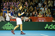 Andy Murray of Great Britain celebrates a point during the Davis Cup Semi Final between Great Britain and Argentina at the Emirates Arena, Glasgow, United Kingdom on 16 September 2016. Photo by Craig Doyle.