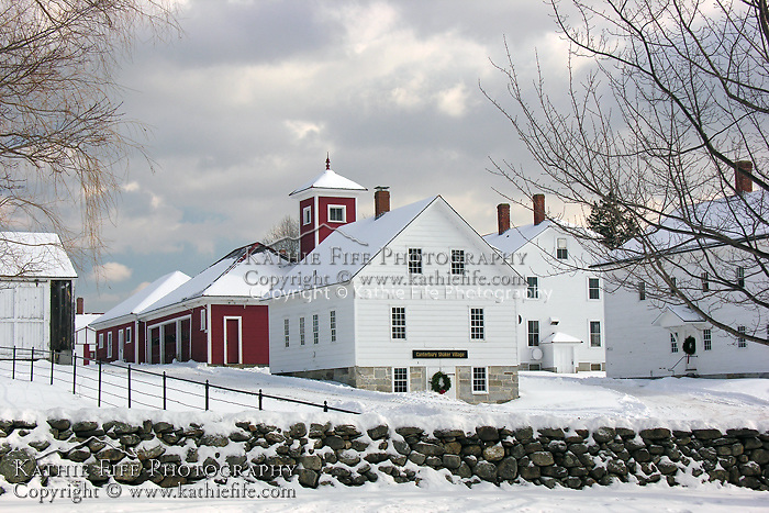 Winter at Canterbury Shaker Village, New Hampshire.<br />