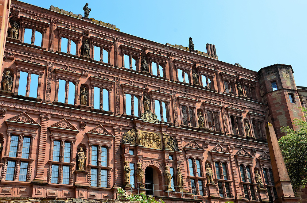Heidelberg Castle Ottheinrichsbau in Heidelberg, Germany <br />