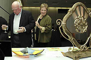 Dennis and Patti Hanaghan, from Dayton look at some of the items available in the silent auction at the 21st birthday party of the Human Race Theatre Company in Sinclair's Ponitz Center, Saturday night, April 28th.
