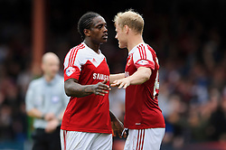 Swindon Forward Nile Ranger (ENG) celebrates with Defender James McEveley (SCO) after scoring his sides 3rd goal during the second half of the match - Photo mandatory by-line: Rogan Thomson/JMP - Tel: 07966 386802 - 21/09/2013 - SPORT - FOOTBALL - County Ground, Swindon - Swindon Town v Bristol City - Sky Bet League 1.