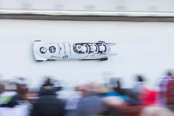 21.02.2016, Olympiaeisbahn Igls, Innsbruck, AUT, FIBT WM, Bob und Skeleton, Herren, Viererbob, 3. Lauf, im Bild Ugis Zalims, Raivis Zirups, Helvijs Lusis, Intars Dambis (LAT) // Ugis Zalims Raivis Zirups Helvijs Lusis Intars Dambis of Latvia compete during Four-Man Bobsleigh 3rd run of FIBT Bobsleigh and Skeleton World Championships at the Olympiaeisbahn Igls in Innsbruck, Austria on 2016/02/21. EXPA Pictures © 2016, PhotoCredit: EXPA/ Johann Groder