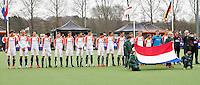 AERDENHOUT - 09-04-2012 - Oranje tijds de volksliederen, , maandag tijdens de finale tussen Nederland Jongens B en Spanje Jongens B  (3-1) , tijdens het Volvo 4-Nations Tournament op de velden van Rood-Wit in Aerdenhout. Jongens U16 wortdt kampioen.FOTO KOEN SUYK