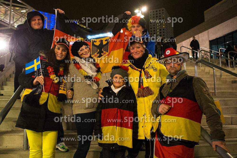 15.10.2013, Friends Arena, Stockholm, SWE, FIFA WM Qualifikation, Schweden vs Deutschland, Gruppe C, im Bild, Germany fans outside of Friends Arena ahead of Germany match against Sverige Sweden,  // during the FIFA World Cup Qualifier Group C Match between Sweden and Germany at the Friends Arena, Stockholm, Sweden on 2013/10/15. EXPA Pictures &copy; 2013, PhotoCredit: EXPA/ PicAgency Skycam/ Michael Campanella<br /> <br /> ***** ATTENTION - OUT OF SWE *****
