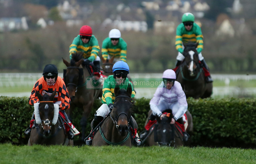 Bless the Wings ridden by Davy Russel (centre) on their way to winning The Glenfarclas Cross Country Handicap Steeple Chase during day one of The International meeting at Cheltenham Racecourse.