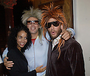 Jeanette Calliva, David de Rothschild and Sean Anders. Julian Macdonald  fashion show, Le Meridien Grosvenor House. After party, Il Bottaccio, Grosvenor Place. London. 14 September 2002. © Copyright Photograph by Dafydd Jones 66 Stockwell Park Rd. London SW9 0DA Tel 020 7733 0108 www.dafjones.com