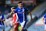 Matt Lund celebrates 1-0 Rochdale during the EFL Sky Bet League 1 match between Rochdale and Fleetwood Town at Spotland, Rochdale, England on 17 September 2016. Photo by Daniel Youngs.