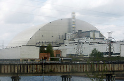 April 26, 2018 - Kiev, Ukraine - A general view of the new protective shelter over the remains of the nuclear reactor Unit 4 at the Chernobyl nuclear power plant, Kiev region, Ukraine, on 26 April 2018. Ukrainians mark the 32th anniversary of Chernobyl's tragedy. The explosion of Unit 4 of the Chernobyl nuclear power plant on 26 April 1986 is still regarded the biggest accident in the history of nuclear power generation. (Credit Image: © Serg Glovny via ZUMA Wire)