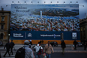A billboard for &quot;Belgrade on Water&quot; at the Belgrade railway station.<br /> <br /> Savamala neighborhood of Belgrade, Serbia.