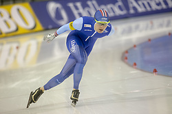 March 9, 2019 - Salt Lake City, Utah, USA - Sverre Lunde Pedersen of Norway competes in the 5000m speed skating finals at the ISU World Cup at the Olympic Oval in Salt Lake City, Utah. Pederson completed the race with a time of 6.10.98 putting him in 5th place. (Credit Image: © Natalie Behring/ZUMA Wire)