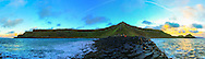 180 degree panoramic view from the tip of the Giant's Causeway as sunset was closing in including, from left, Lacada Point and the Chimney Stacks, Port Noffer, Aird Snout, Port Ganny and Grand Stookan.