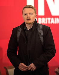 © Licensed to London News Pictures. 14/04/2016. London, UK. Andrew Fisher, advisor to Jeremy Corbyn   attends a speech by the leader of the Labour Party, arguing the case for Britain remaining in Europe, at Senate House in London. The Uk is due to vote in and in out referendum in their membership of the EU on June 23rd, 2016.  Photo credit: Ben Cawthra/LNP