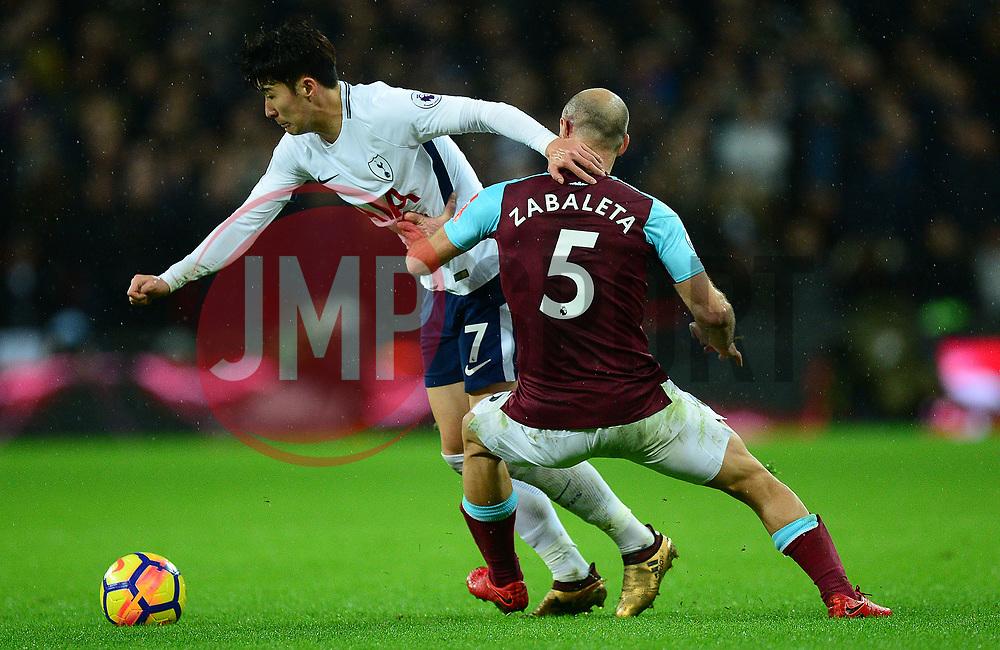 Son Heung-Min of Tottenham Hotspur battles for the ball with Pablo Zabaleta of West Ham United - Mandatory by-line: Alex James/JMP - 04/01/2018 - FOOTBALL - Wembley Stadium - London, England - Tottenham Hotspur v West Ham United - Premier League