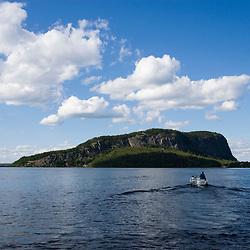 Mount Kineo in Moosehead Lake from Rockwood Landing Maine USA