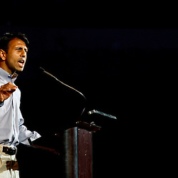 Louisiana Governor, Bobby Jindal speaks during a Rally for Economic Survival held in support of lifting the goverment imposed moratorium on drilling that was held inside the Cajundome in Lafayette, Louisiana, U.S., on Wednesday, July 21, 2010. Photographer: Derick E. Hingle/Bloomberg
