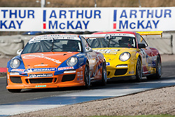 Car 1 - Kieran Vernon and car 5 - Richard Plant, Porche Carrera Cup..British Touring Car Championship at Knockhill, Sunday 4th September 2011. .© pic Michael Schofield.