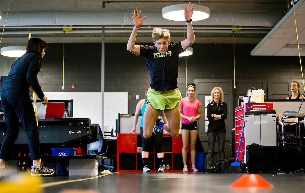Charles Philibert-Thiboutot does a two legged triple broad jump for distance which highly correlates to sprint speed at the Pacific Institute for Sport Excellence on December 3rd, 2015 in Victoria, British Columbia Canada.