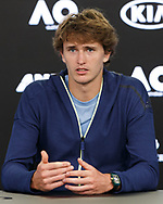 ALEXANDER ZVEREV (GER), Pressekonferenz<br /> <br /> Tennis - Australian Open 2018 - Grand Slam ITF / ATP / WTA -  Melbourne Park - Melbourne - Victoria - Australia  - 13 January 2018.