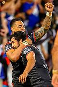 Ken Maumalo (l) and Peta Hiku (r). Auckland Warriors v St George Dragons. NRL Rugby League.Magic Round 2019 Suncorp Stadium, Brisbane, New Zealand. May 11, 2019. © Copyright photo: Patrick Hamilton / www.photosport.nz