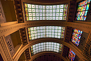 Interior of the Gellert Hotel, Budapest, Hungary. The stained glass roof of the Spa
