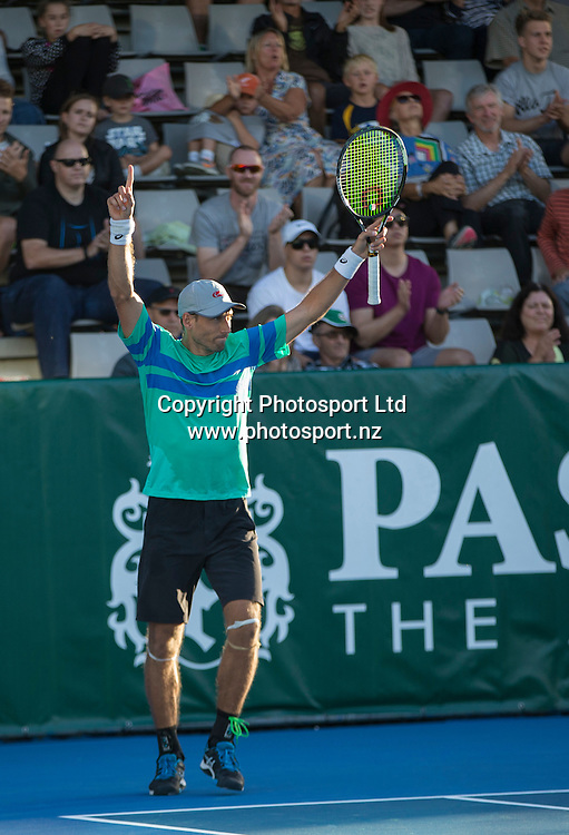 Artem Sitak reacts to winning the mens singles final in the Pascoes NZ Tennis Champs held at the ASB Tennis Arena in Auckland. <br /> Credit; Peter Meecham/ www.photosport.nz