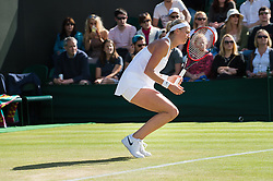 LONDON, ENGLAND - Saturday, July 2, 2016:  Deflated Petra Kvitova (CZE) during the Ladies' Single 3rd Round match on day six of the Wimbledon Lawn Tennis Championships at the All England Lawn Tennis and Croquet Club. (Pic by Kirsten Holst/Propaganda)