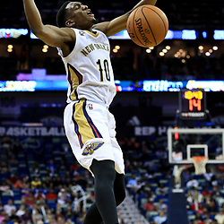 Oct 4, 2016; New Orleans, LA, USA;  New Orleans Pelicans guard Langston Galloway (10) has the ball knocked away during the second half of a game against the Indiana Pacers at the Smoothie King Center. The Pacers defeated the Pelicans 113-96. Mandatory Credit: Derick E. Hingle-USA TODAY Sports