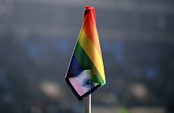 A general view of a Rainbow Laces campaign corner flag during the match between Coventry City and Peterborough United at the Ricoh Arena