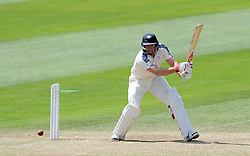 Yorkshire's Tim Bresnan cuts the ball. Photo mandatory by-line: Harry Trump/JMP - Mobile: 07966 386802 - 27/05/15 - SPORT - CRICKET - LVCC County Championship - Division 1 - Day 4 - Somerset v Yorkshire - The County Ground, Taunton, England.
