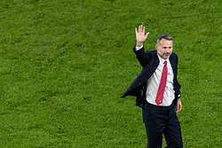 CARDIFF, WALES - Tuesday, November 19, 2019: Wales' manager Ryan Giggs celebrates after a 2-0 victory ensures qualification to Euro 2020 after the final UEFA Euro 2020 Qualifying Group E match between Wales and Hungary at the Cardiff City Stadium. (Pic by Paul Greenwood/Propaganda)