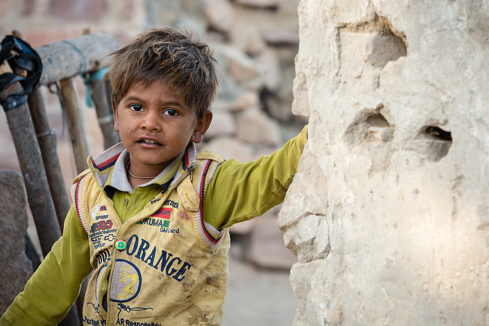 Portrait of Indian boy in village of Chandelao, Rajasthan