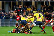 Toby Arnold to LOU, Charly Trussardi to ASM, Wesley Fofana to ASM during the French championship Top 14 Rugby Union match between ASM Clermont and Lyon OU on November 18, 2017 at Marcel Michelin stadium in Clermont-Ferrand, France - Photo Romain Biard / Isports / ProSportsImages / DPPI