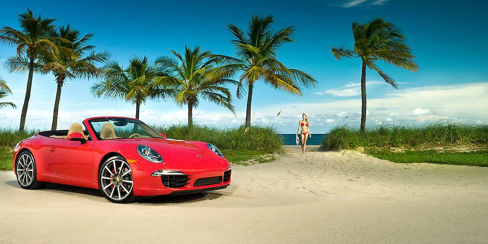 Champion Porsche red 911 at beach in Florida