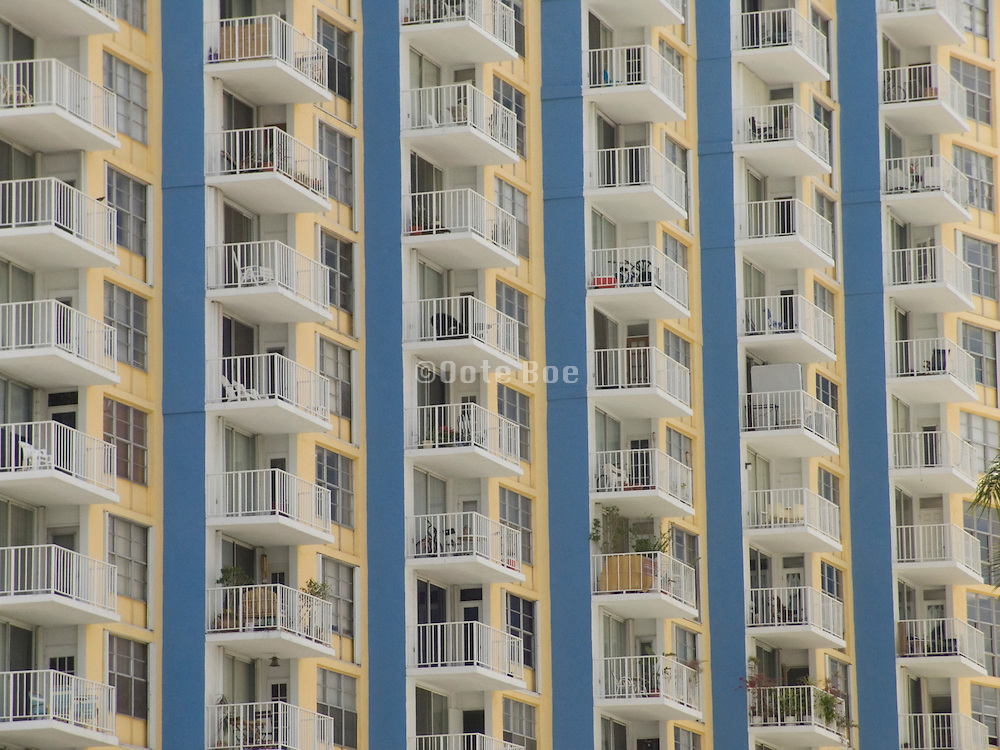 Close up of a summer residential high rise Miami USA