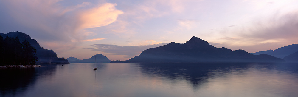 Howe Sound sunset with islands and clouds