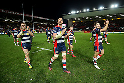 Mitch Eadie, Dan Tuohy and Will Cliff of Bristol Rugby celebrate after Bristol Rugby win 28-20 - Rogan Thomson/JMP - 26/12/2016 - RUGBY UNION - Ashton Gate Stadium - Bristol, England - Bristol Rugby v Worcester Warriors - Aviva Premiership Boxing Day Clash.