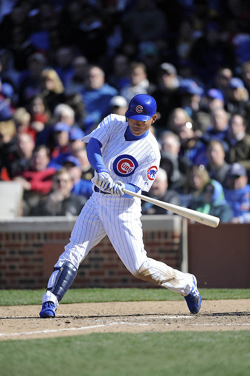CHICAGO - APRIL 15:  Kosuke Fukudome #12 of the Chicago Cubs bats during the game against the Colorado Rockies on April 15, 2009 at Wrigley Field in Chicago, Illinois.  The Rockies defeated the Cubs 5-2.  (Photo by Ron Vesely)