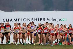 Start of the Junior Women's race during the 18th SPAR European Cross Country Championships Velenje 2011, on December 11, 2011 in Stadium Ob jezeru, Velenje, Slovenia. (Photo By Vid Ponikvar / Sportida.com)