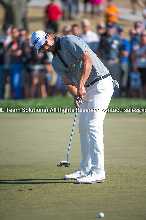 27 February 2016: Adam Scott putts during the third round of the Honda Classic at the PGA National Resort & Spa in Palm Beach Gardens, FL.