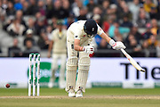 Wicket - Joe Root of England is trapped lbw by Josh Hazlewood of Australia during the International Test Match 2019, fourth test, day three match between England and Australia at Old Trafford, Manchester, England on 6 September 2019.