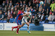 James Norwood (Tranmere Rovers) runs on to a through pass during the Vanarama National League second leg play off match between Tranmere Rovers and Aldershot Town at Prenton Park, Birkenhead, England on 6 May 2017. Photo by Mark P Doherty.
