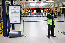 © Licensed to London News Pictures. 13/12/2016. London, UK. Southern trains platform at Victoria Station in London is closed on 13 December 2016, as hundreds of thousands of rail passengers face a 3 day all-out strike in an escalating dispute over the role of conductors between Southern Rail and the RMT Union. Photo credit: Tolga Akmen/LNP