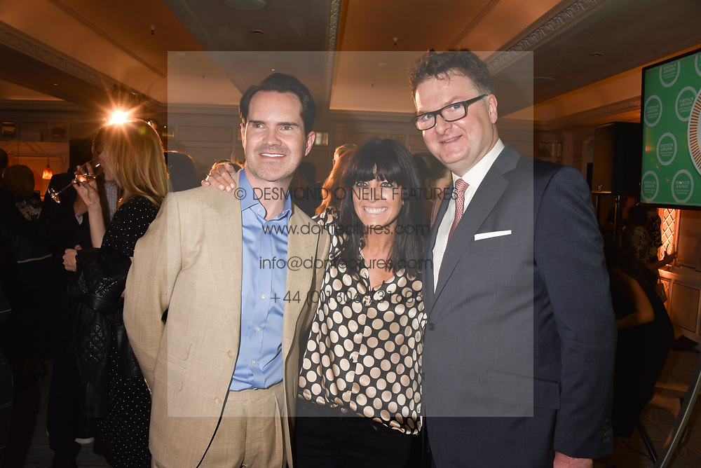 Jimmy Carr, Claudia Winkleman and Ewan Venters at the Fortnum & Mason Food and Drink Awards, Fortnum & Mason Food and Drink Awards, London, England. 10 May 2018.