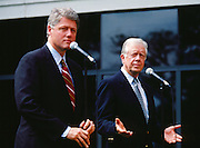 Former President Jimmy Carter lends his support to Democratic Governor Bill Clinton in 1992 as Clinton was making his first bid for the White House. The announcement was held in Atlanta, Georgia at the Carter Presidential Library.