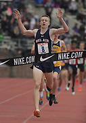 Apr 27, 2018; Philadelphia, PA, USA; Kieran McDermott of Bel Air celebrates after winning the boys championship mile in 4:09.63 during the 124th Penn Relays at Franklin Field.