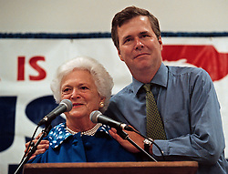 Former first lady Barbara Bush, wife of former President George H.W. Bush and mother of former President George W. Bush, died Tuesday at her home in Houston. She was 92. Barbara Bush had been in failing health, suffering from congestive heart failure and chronic obstructive pulmonary disease. George and Barbara, who celebrated their 73rd wedding anniversary on Jan. 6, hold the record for the longest-married presidential pair. Mrs. Bush was known for her wit and emphasis on family. One of her primary causes was literacy. She founded the Barbara Bush Foundation for Family Literacy in 1989 to carry forth her legacy in the cause for literacy. PICTURED: Oct 31, 2000 - Palm Harbor, Florida, U.S. - Florida Governor JEB BUSH, right, embraces his mother BARBARA BUSH after her speech to the crowd at the Palm Harbor Senior Activity Center. Barbara was stumping for her son George W. Bush in his race to become President. (Credit Image: © Scott Keeler/Tampa Bay Times/ZUMAPRESS.com)