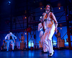 © Copyright licensed to London News Pictures. 01/11/2010. Ms Andriana Francisco, singer with Bale de Rua, Peacock Theatre, London. A high energy mix of hip hop, African dance, samba and capoeira, hit Brazilian dance show Balé de Rua makes its debut at the Peacock Theatre.