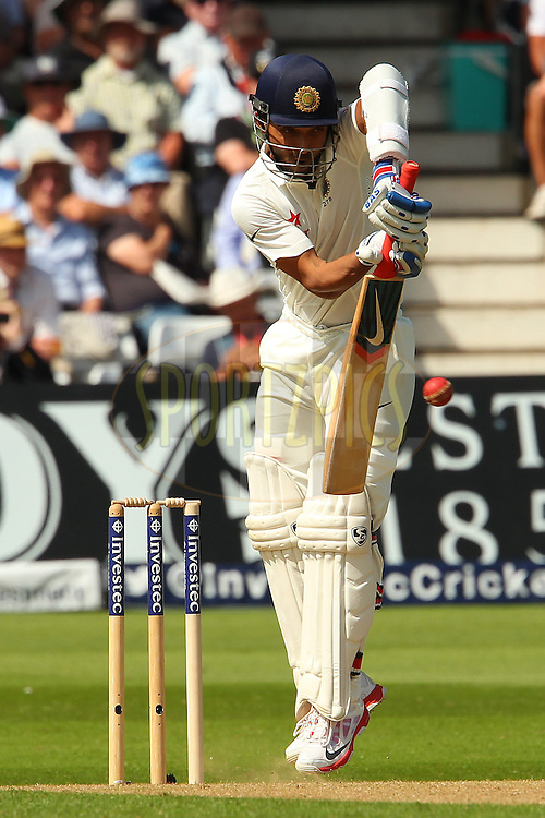 Ajinkya Rahane of India during day one of the first Investec test match between England and India held at Trent Bridge cricket ground in Nottingham, England on the 9th July 2014<br /> <br /> Photo by Ron Gaunt / SPORTZPICS/ BCCI