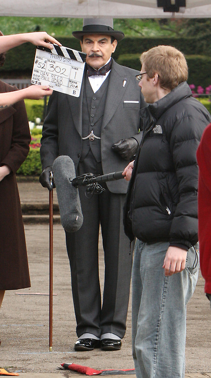 Hercule Poirot Shooting The Third Girl in Holland Park London,<br /> One of David Suchets hobbies is photography,